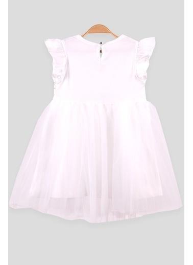 Breeze Kız Çocuk Tüllü Elbise Pullu Ekru